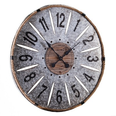 Aiden Lane 36 x36  Ravyn Oversized Decorative Wall Clock Galvanized Aluminum Gray