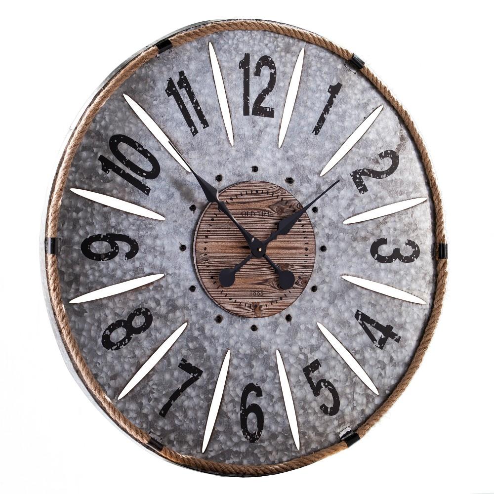"Image of ""Aiden Lane 36""""x36"""" Ravyn Oversized Decorative Wall Clock Galvanized Aluminum Gray"""