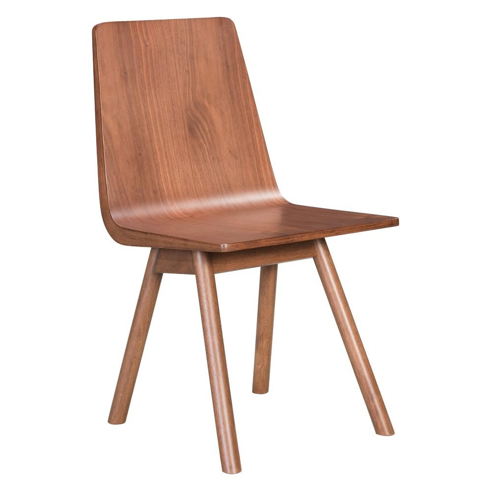 Modern Dining Chair Set of 2 Walnut - ZM Home