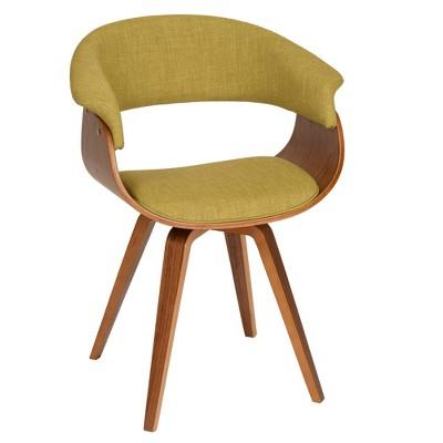 Summer Modern Chair - Green Fabric And Walnut Wood - Armen Living