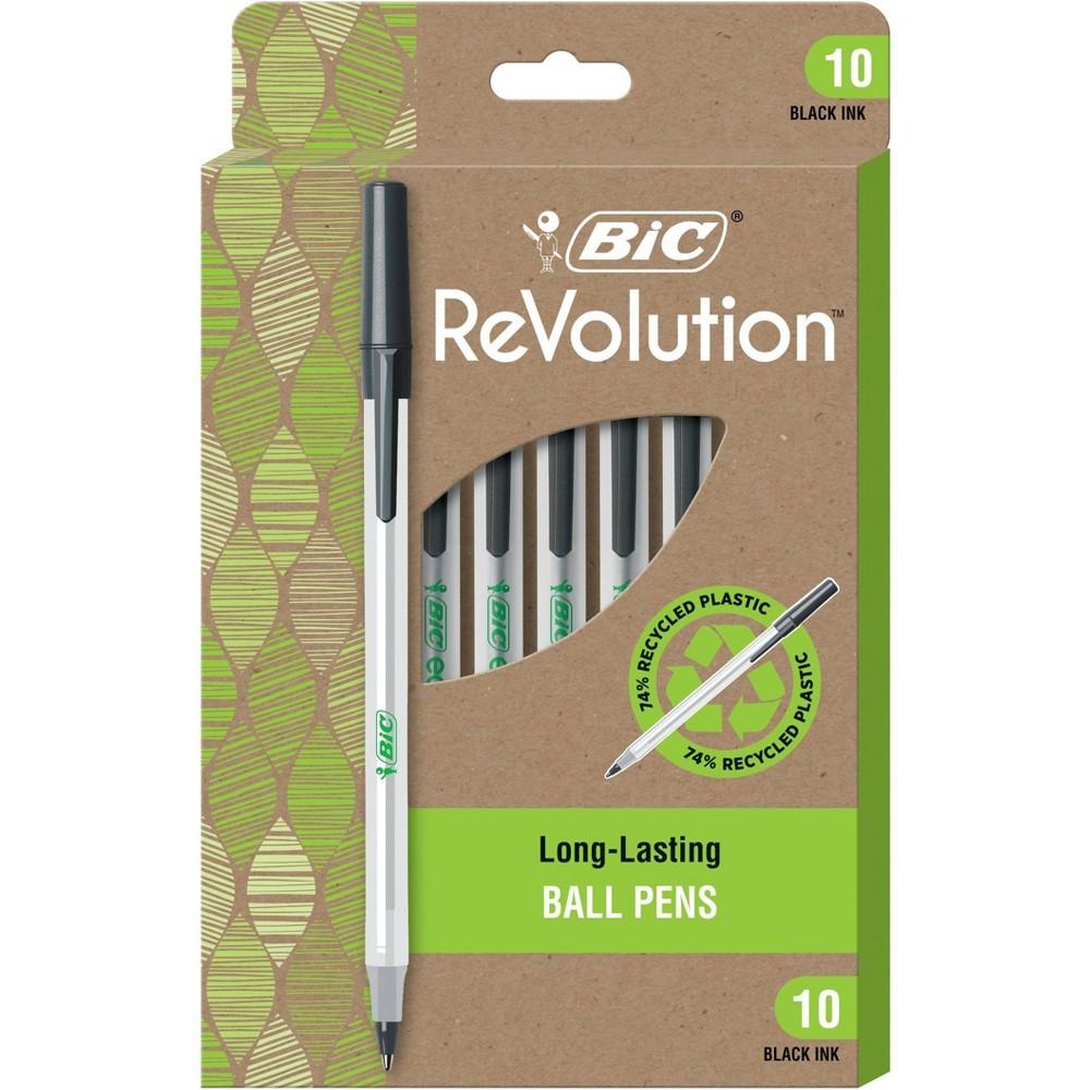 Bic 10pk Ballpoint Pens Revolution Stic Black Ink