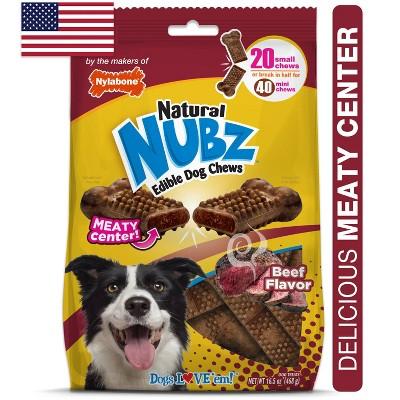 Nylabone Nubz Beef with Meaty Center Dog Treats - 20pk