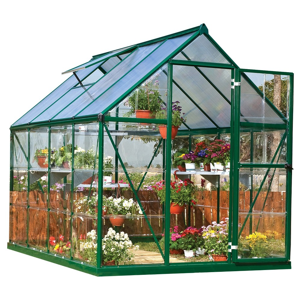 6' x 8' x 7' Nature Greenhouse Forest Green - Palram