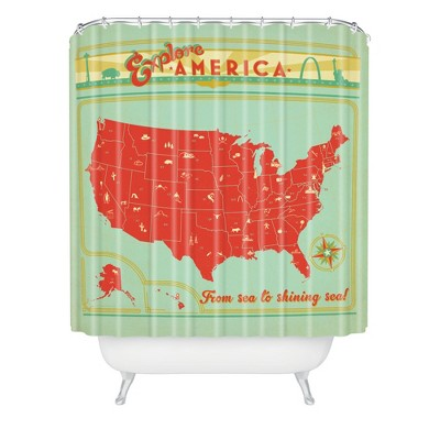 Explore America Shower Curtain Green/Red - Deny Designs