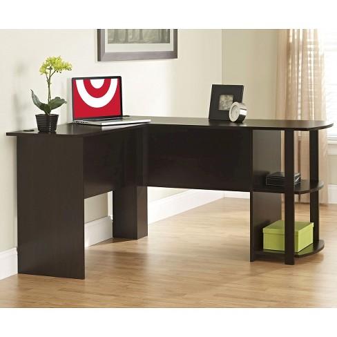 Fieldstone L Shaped Desk With Bookshelves Espresso Room Joy Target