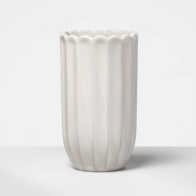 """7"""" x 4"""" Decorative Terra Cotta Vase White - Opalhouse™"""