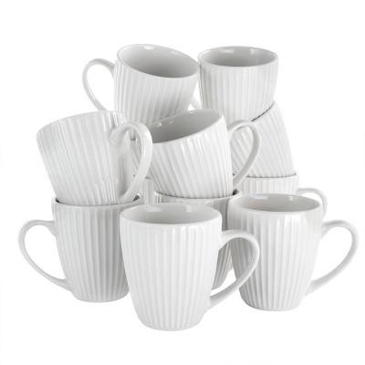 8oz 12pk Porcelain Elle Mug Set White - Elama