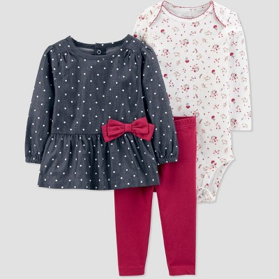 Baby Girls' Chambray 3pc Top & Bottom Set - Just One You® made by carter's Blue 6M