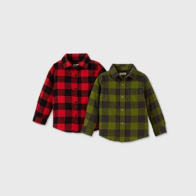 Toddler Boys' 2pk Long Sleeve Woven Button-Down Shirt - Cat & Jack™ Gray/Red