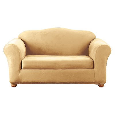 2pc Stretch Suede Loveseat Slipcover Camel - Sure Fit