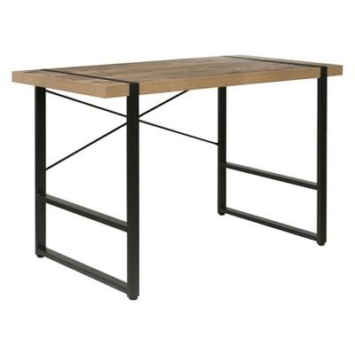 Bourbon Foundry Writing Desk Wood and Black Steel Oak - OneSpace