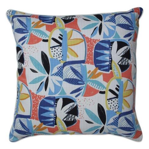 """25"""" Outdoor/Indoor Upbeat Disco Blue Floor Pillow - Pillow Perfect - image 1 of 1"""