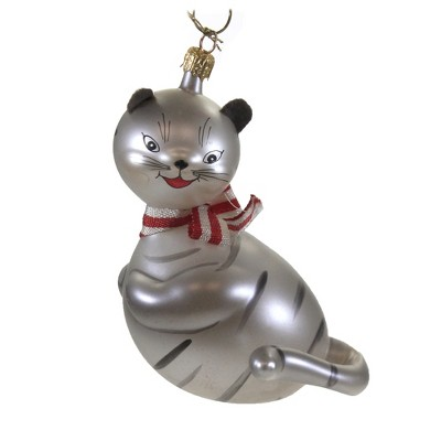 "Italian Ornaments 5.0"" Cheshire Cat W/ Red Striped Bow Ornament Italian Alice Kitten  -  Tree Ornaments"