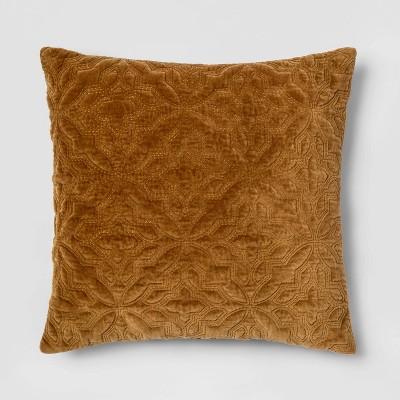 Square Embroidered Velvet Throw Pillow Caramel - Threshold™