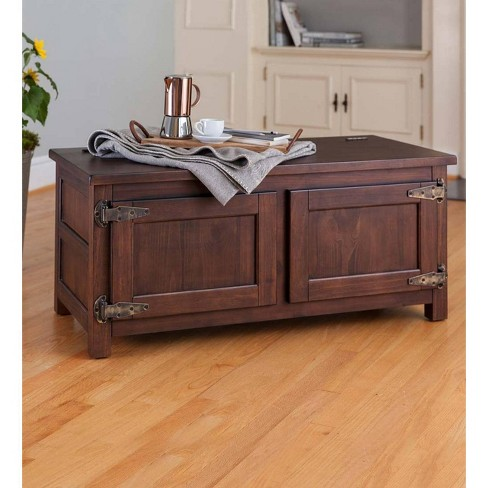 Portland Ice Box Coffee Table Or Storage Bench With Distressed Walnut Finish Plow Hearth