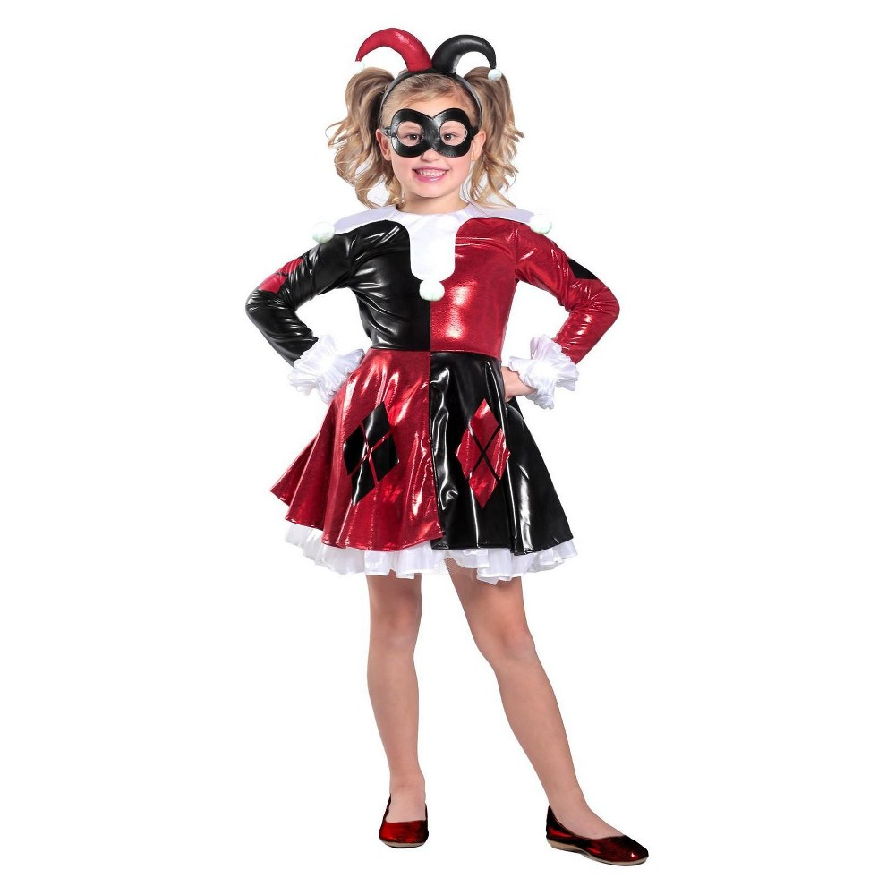 Girls' Harley Quinn Costume - S, Multicolored