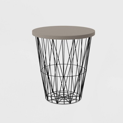 Rosin Patio Accent Table - Cement Gray with Black - Aiden Lane