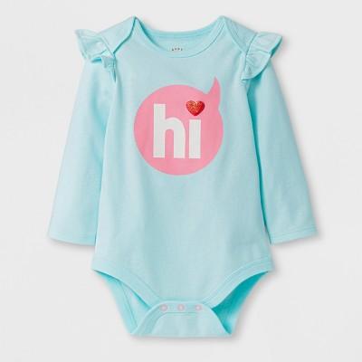 Baby Girls' Ruffle Bodysuit - Cat & Jack™ Aqua 6-9 M