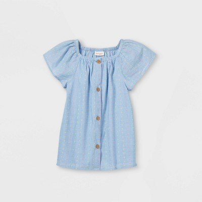 Girls' Eyelet Button-Front Woven Short Sleeve Top - Cat & Jack™