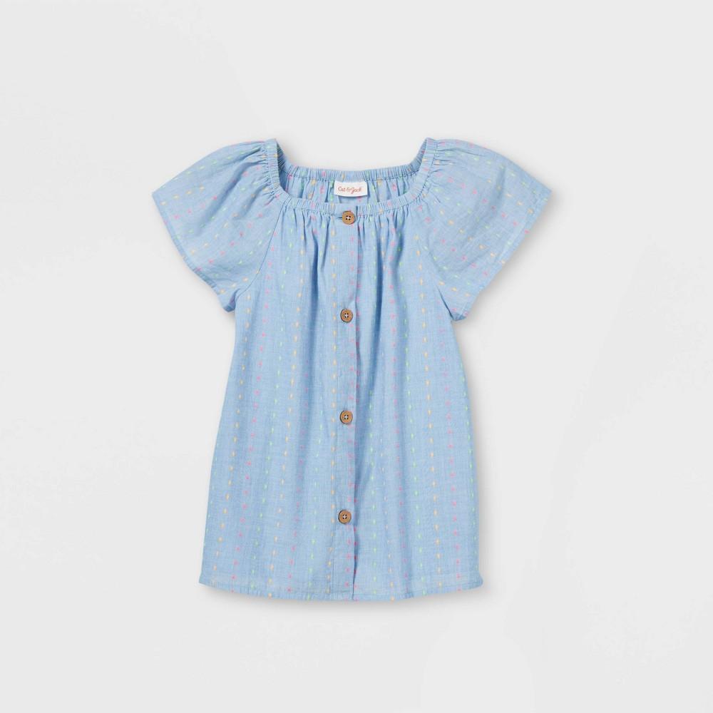 Girls 39 Eyelet Button Front Woven Short Sleeve Top Cat 38 Jack 8482 Blue M