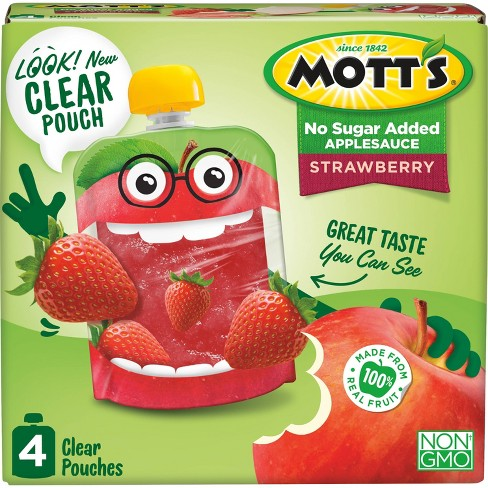 Mott's Unsweetened Strawberry Applesauce - 4ct/3.2oz Pouches - image 1 of 4