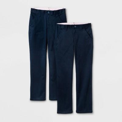 Girls' 2pk Flat Front Stretch Uniform Straight Pants - Cat & Jack™ Navy
