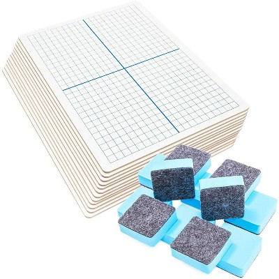12 Packs Dry Erase XY Axis Graph Lap Board with Erasers, Double Sided, White, 11.8 x 8.9 inches
