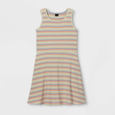 Girls' Tank Scoop Neck Rib-Knit Skater Dress - art class™