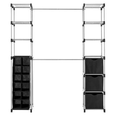 Whitmor Deluxe Double Rod Closet Organizer Black