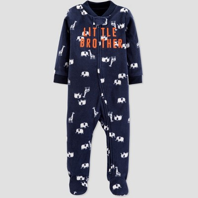 Baby Boys' Little Bro Microfleece Sleep 'N Play - Just One You® made by carter's Navy Newborn