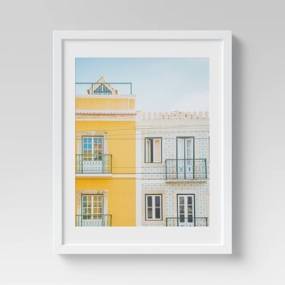 "16"" x 20"" Building Framed Wall Art White/Yellow - Threshold™"