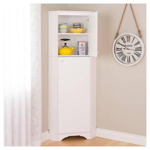 2 Door Corner Storage Cabinet Prepac, Corner Cabinet With Doors And Shelves