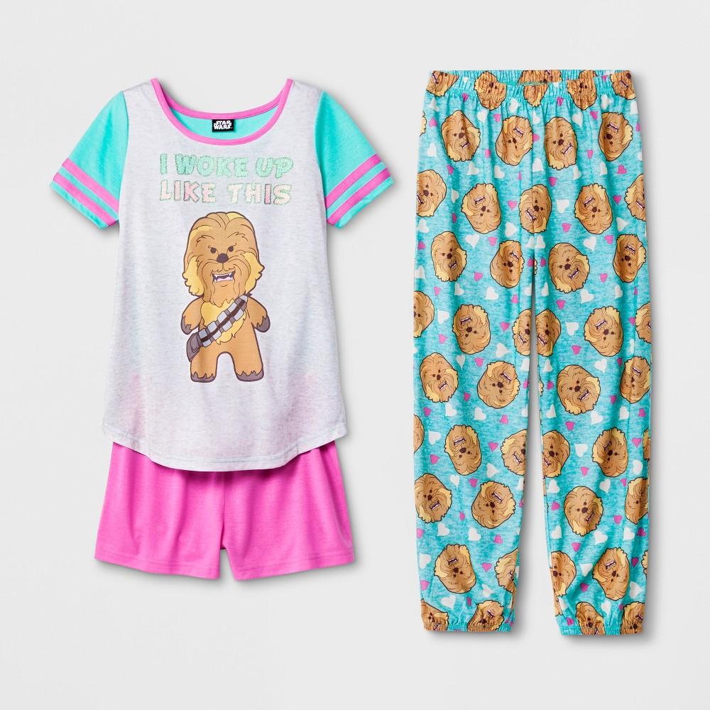 Girls' Star Wars Chewbacca 3pc Pajama Set - Blue/Pink XS