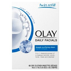 Olay Daily Deep Clean 4-in-1 Water Activated Cleansing Cloths, 66 ct