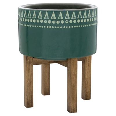 Earthenware Wood Base Planter - Green - Threshold™
