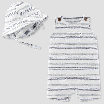 Baby Boys' 2pc Stripe Romper and Hat Set - Just One You® made by carter's Blue 6M