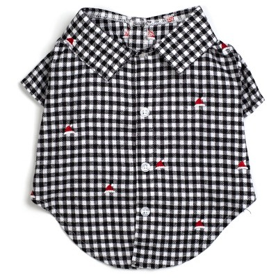 The Worthy Dog Flannel Check Plaid Embroidered Santa Hats Button Up Look Pet Shirt