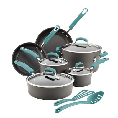 Rachael Ray 12pc Hard Anodized Cookware Set with Agave Blue Handle