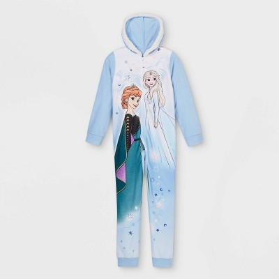 Girls' Frozen Blanket Sleeper Union Suit - Blue