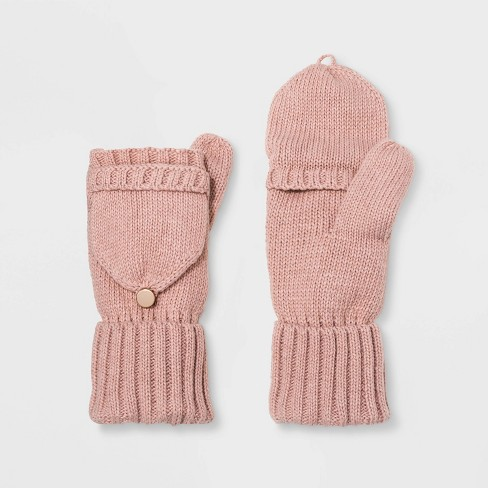 Women's Knit Flip Top Mitten - A New Day™ Pink One Size - image 1 of 1