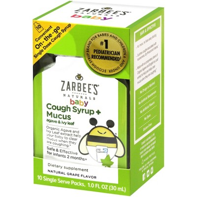 Zarbee's Naturals Baby Cough + Mucus Relief Syrup - Natural Grape Flavor - 1 fl oz/10ct