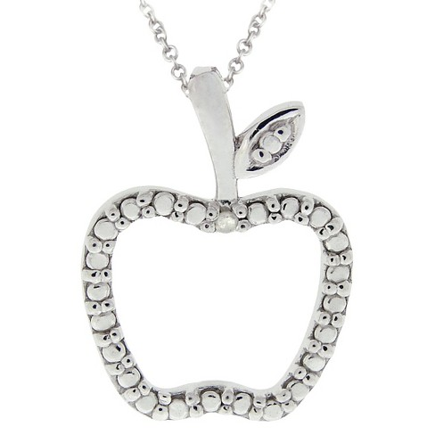 "Sterling Silver Diamond Accented Apple Necklace 18"" - image 1 of 1"