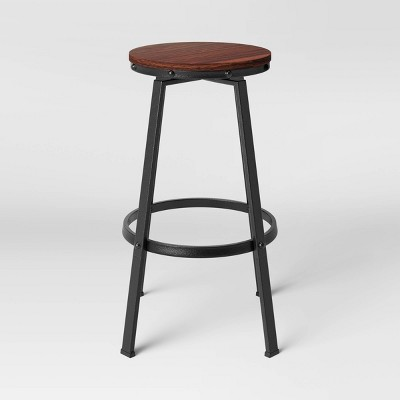 Lewiston Backless Swivel Wood Seat Barstool with Adjustable Legs Metal - Threshold™