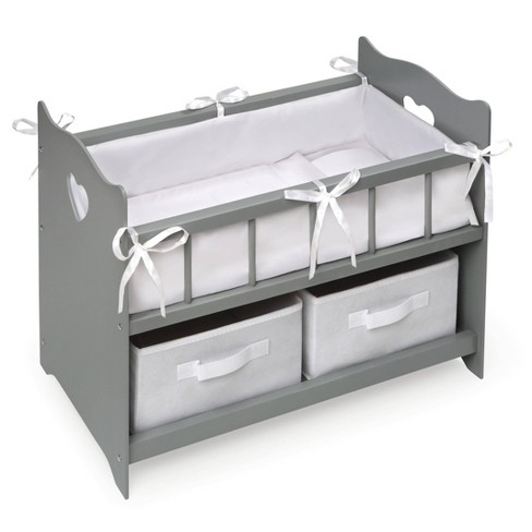 Badger Basket Doll Crib with Two Baskets and Free Personalization Kit - Executive Gray - image 1 of 4