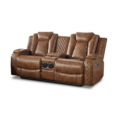 Edanola Upholstered Loveseat with 2 Power Recliner Brown - HOMES: Inside + Out