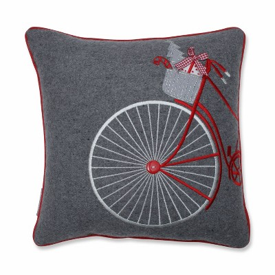 """16""""x16"""" Holiday Bicycle Square Throw Pillow - Pillow Perfect"""