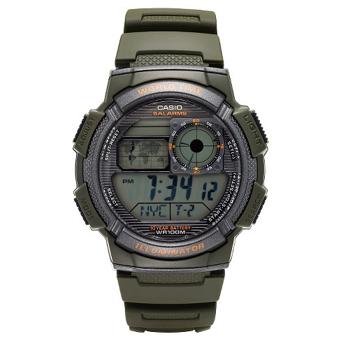 Casio Men's World Time Watch - Green (AE1000W-3AVCF) - image 1 of 2