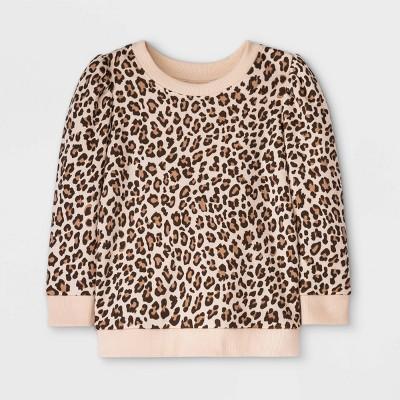Grayson Mini Toddler Girls' Leopard Print Fleece Pullover Sweatshirt - Tan