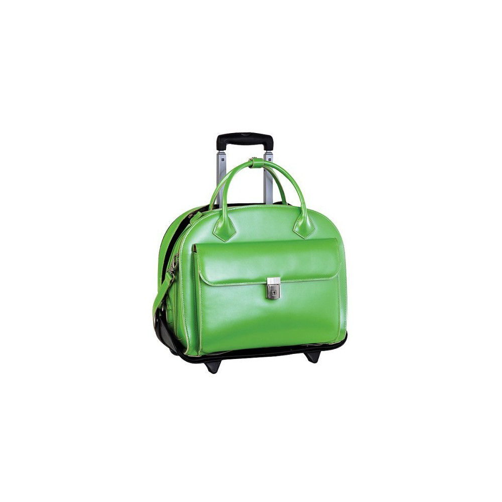 McKlein Glen Ellyn 15 Leather Patented Detachable - Wheeled Ladies' Laptop Briefcase (Green), Size: Small