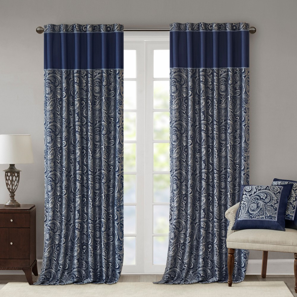 "Image of ""Charlotte Jacquard Panel Pair Navy 50x108"""""""